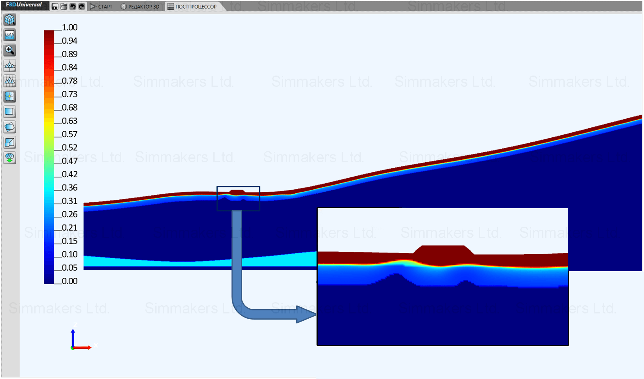 Relative unfrozen water content distribution after 2 years in summer  for increased filtration velocity (computational domain cross section)