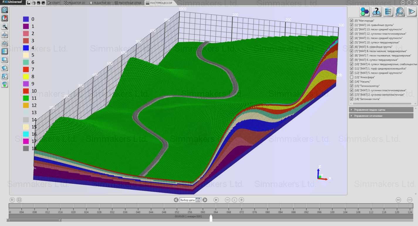 3D model computational mesh of the road on permafrost