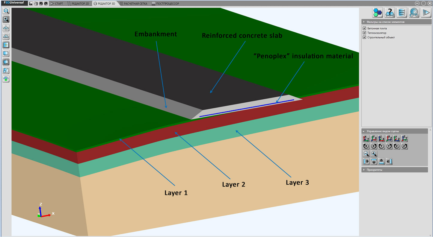 Roadway design and soils in a cross-section of the computational domain