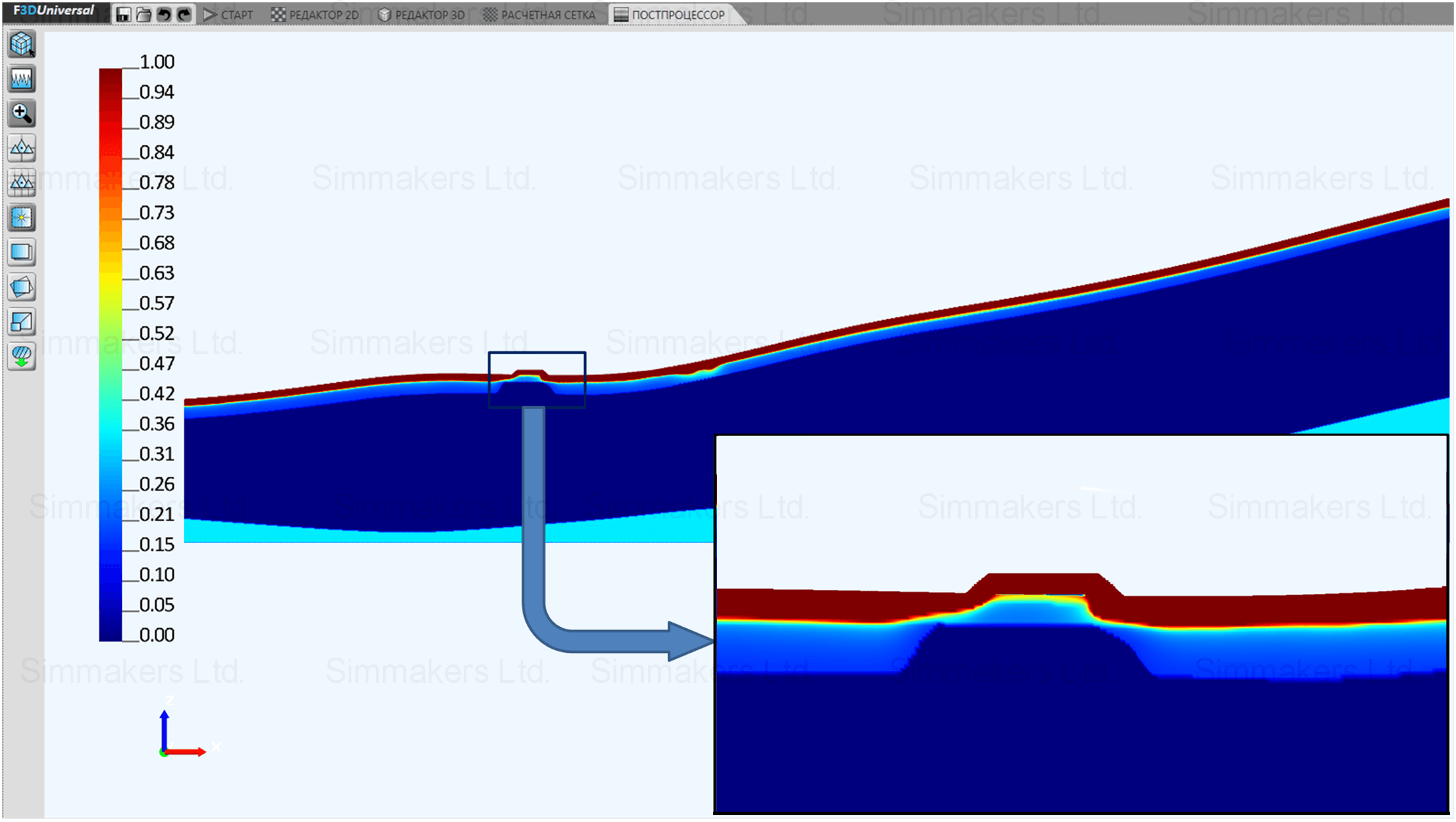 Relative unfrozen water content distribution after 2 years in summer, computational domain cross section